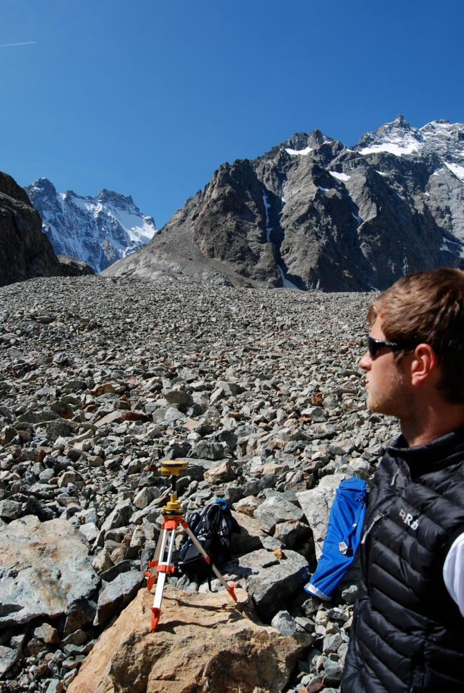 Observing the beauty of the debris-covered Glacier Noir, Southeast France, 2014.